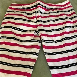 Size 8 Black, White, and magenta striped capris
